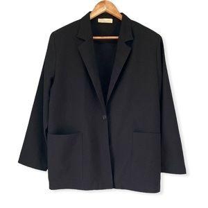80's Vintage Black One-Button Blazer Jacket